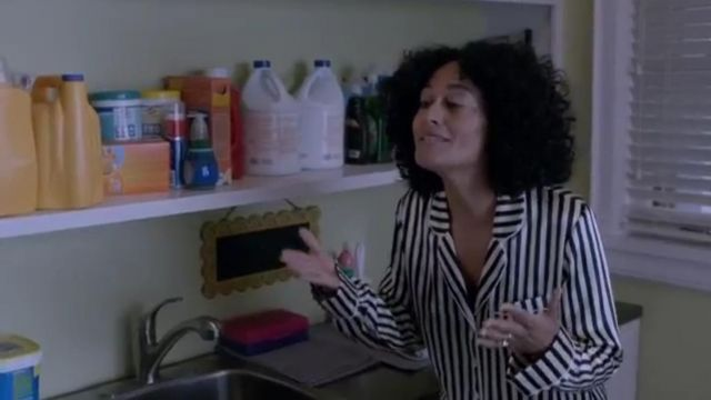 Black and White Striped Silk Satin Pajama Set outfit worn by Rainbow Johnson (Tracee Ellis Ross) in black-ish (Season01 Episode16) - TV Show Outfits and Products