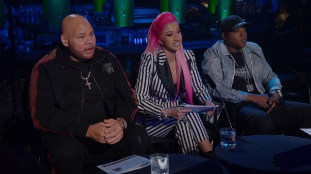 Black and white stripeed cropped jacket outfit worn by Cardi B in Rhythm + Flow (S01E02) - TV Show Outfits and Products