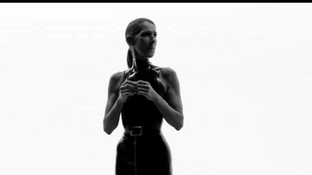 Black belt rectangular buckle outfit worn by Celine Dion in Celine Dion - Courage (Official Video) - Youtube Outfits and Products