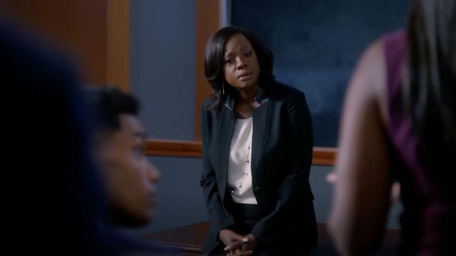 Black blazer St. John outfit worn by Annalise Keating (Viola Davis), in Murder Season 5 Episode 7 - TV Show Outfits and Products