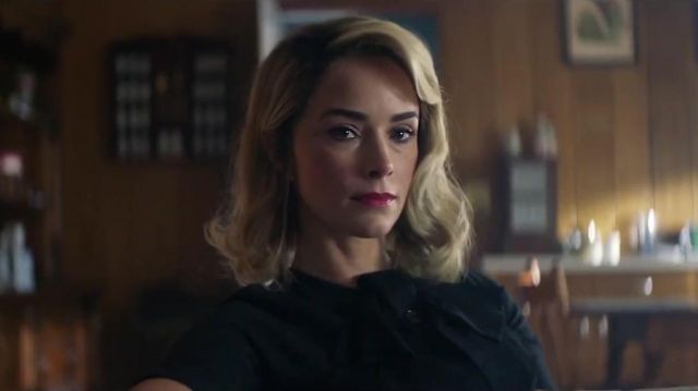 Black bow neck short sleeve dress outfit worn by Doris Dearie (Abigail Spencer) in Reprisal (S01) - TV Show Outfits and Products