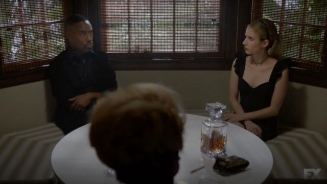 Fashion Trends 2021: Black dress Five Seven outfit worn by Madison Montgomery (Emma Roberts) seen in American Horror Story Season 8 Episode 6