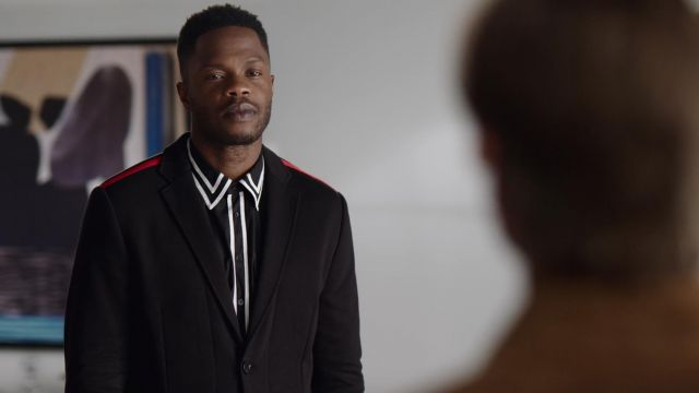 Black jacket with red stripes Givenchy outfit worn by Jeff Colby (Sam Adegoke) seen in Dynasty Season 2 Episode 2 - TV Show Outfits and Products