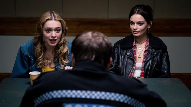 Black leather jacket of Maeve Wiley (Emma Mackey) in Sex Education Season 2 - TV Show Outfits and Products