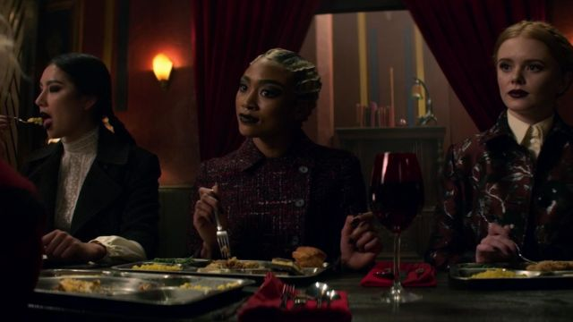 Black mantle of Agatha (Adeline Rudolph) seen in The New Adventures of Sabrina Season 1 Episode 3 - TV Show Outfits and Products