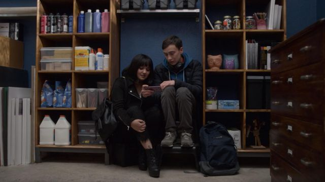 Black pants, lace Waif Bailey Bennett (Ariela Barer) seen in Atypical Season 2 Episode 5 - TV Show Outfits and Products