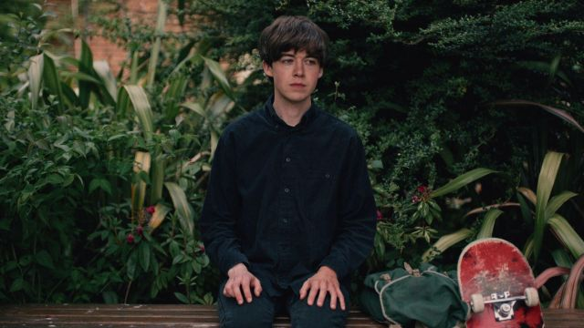 Fashion Trends 2021: Black shirt of James (Alex Lawther) seen in The End Of The F***ing World Season 1 Episode 1