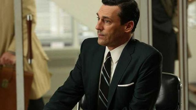 Black suit of Don Draper (Jon Hamm) seen in Mad Men Season 6 Episode 4 - TV Show Outfits and Products