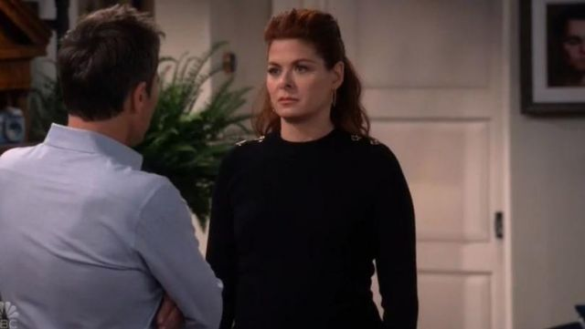 Black sweater Karen Millen Grace Adler (Debra Messing) on Will & Grace S10 Episode 5 - TV Show Outfits and Products