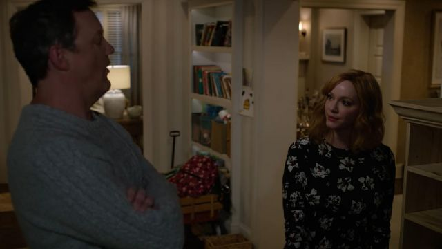 Black sweater floral print that carries Beth (Christina Hendricks) seen in Good Girls Season 1 Episode 9 - TV Show Outfits and Products