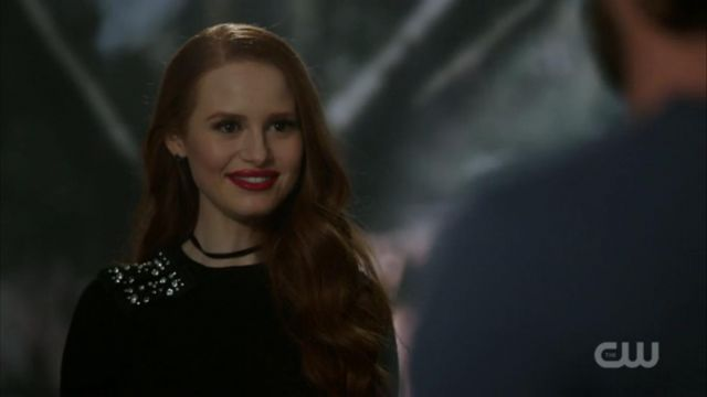 Black sweater of Cheryl Blossom (Madelaine Petsch) seen in Riverdale Season 1 Episode 9 - TV Show Outfits and Products