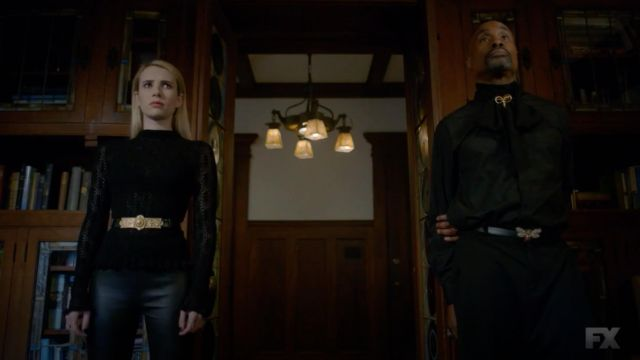 Black top with long sleeves & Other Stories outfit worn by Madison Montgomery (Emma Roberts) seen in American Horror Story Season 8 Episode 6 - TV Show Outfits and Products