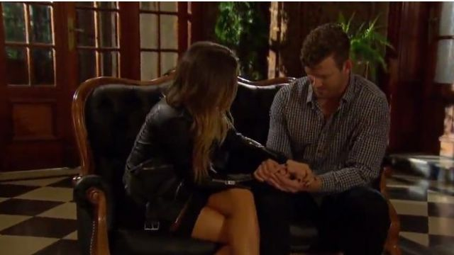 BlankNYC black leather life changer moto jacket outfit worn by JoJo Fletcher in The Bachelorette (S12E06) - TV Show Outfits and Products
