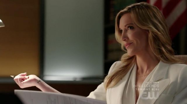 Blazer in white Smythe outfit worn by Laurel Lance (Katie Cassidy) seen in Arrow Season 7 Episode 2 - TV Show Outfits and Products