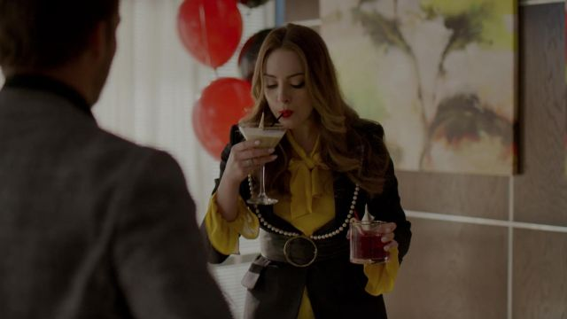 Blazer lapel beaded Gucci outfit worn by Fallon Carrington (Elizabeth Gillies) seen in Dynasty Season 2 Episode 5 - TV Show Outfits and Products