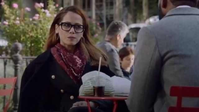 Bloomingdale's Red Snake Print Wool Scarf outfit worn by Amanda Doherty (Victoria Cartagena) in Almost Family Season 1 Episode 6