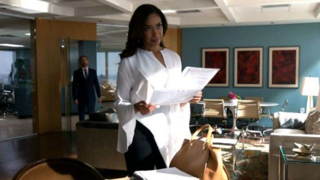 Fashion Trends 2021: Blouse and asymmetrical white silk Givenchy to Jessica Pearson (Gina Torres) on Suits Season 6 Episode 9
