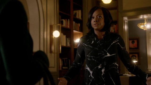 Blouse black printed marble Akris outfit worn by Annalise Keating (Viola Davis), in Murder Season 5 Episode 7 - TV Show Outfits and Products