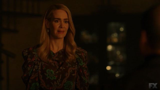 Blouse brown with flowers Isabel Marant outfit worn by Lana Winters (Sarah Paulson) seen in American Horror Story Season 8 Episode 5 - TV Show Outfits and Products