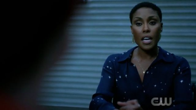 Blouse navy blue with stars The Agency in scope by Lynn Pierce (Christine Adams) seen in Black Lightning Season 2 Episode 3 - TV Show Outfits and Products