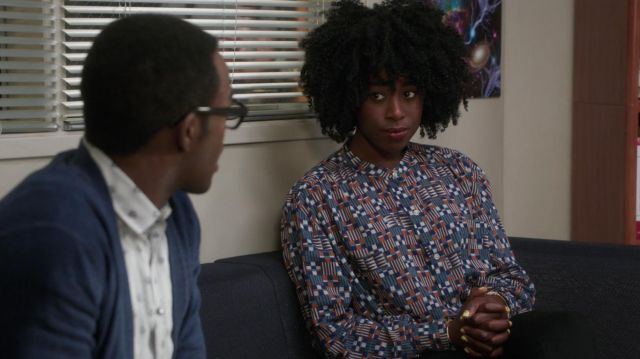 Blouse printed Isabel Marant Star outfit worn by Simone Garnett (Kirby Howell-Baptiste) seen in The Good Place Season 3 Episode 5 - TV Show Outfits and Products