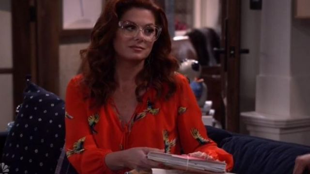Blouse red printed birds of Grace Adler (Debra Messing) on Will & Grace (S10 Episode 4) - TV Show Outfits and Products
