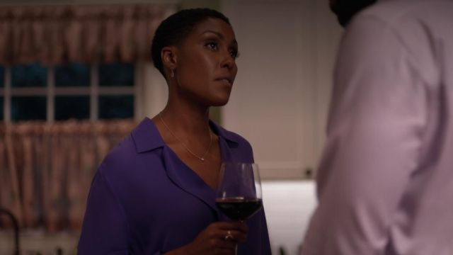 Blouse violet The Agency's reach by Lynn Pierce (Christine Adams) seen in Black Lightning Season 1 Episode 3 - TV Show Outfits and Products