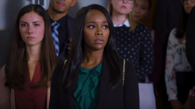 Blouse was frilled the wheel of Michaela Pratt (Aja Naomi King) seen in Murder Season 5 Episode 1 - TV Show Outfits and Products