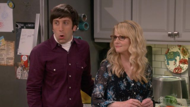 Blouse with flowers A Pea in the Pod outfit worn by Bernadette Rostenkowski (Melissa Rauch) The Big Bang Theory S12 Episode 2 - TV Show Outfits and Products