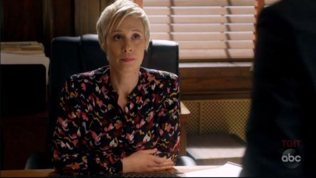 Blouse with flowers by Bonnie Winterbottom (Liza Weil) seen in the How to get away with Murder (Season 5 Episode 2) - TV Show Outfits and Products