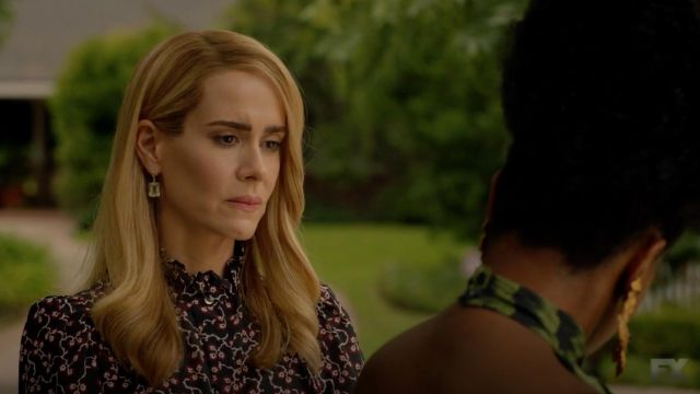 Blouse with patterns Isabel Marant outfit worn by Lana Winters (Sarah Paulson) seen in American Horror Story Season 8 Episode 7 - TV Show Outfits and Products