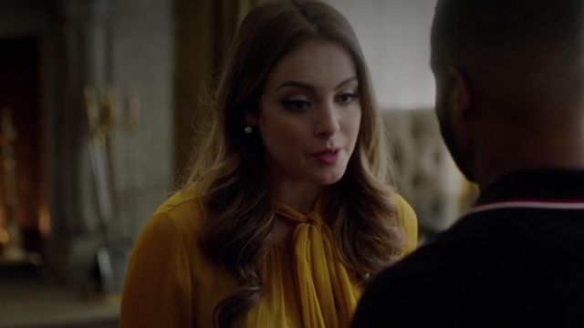 Blouse yellow Prabal Gurung outfit worn by Fallon Carrington (Elizabeth Gillies) seen in Dynasty Season 2 Episode 3 - TV Show Outfits and Products
