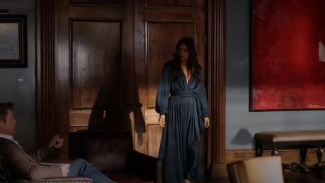 Blue Deep Vneck Gown outfit worn by Cristal Jennings (Daniella Alonso) in Dynasty Season 3 Episode 5 - TV Show Outfits and Products