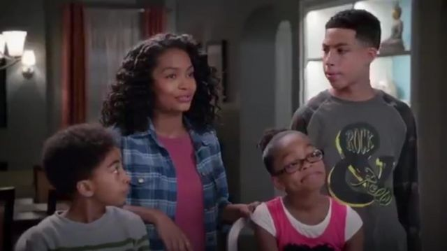Blue Plaid Shirt outfit worn by Zoey Johnson (Yara Shahidi) in black-ish (Season01 Episode18) - TV Show Outfits and Products