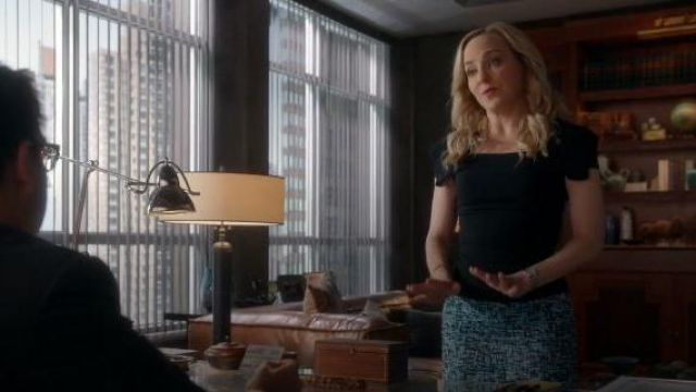 Blue Printed Skirt outfit worn by Marissa Morgan (Geneva Carr) in Bull Season 04 Episode 07 - TV Show Outfits and Products