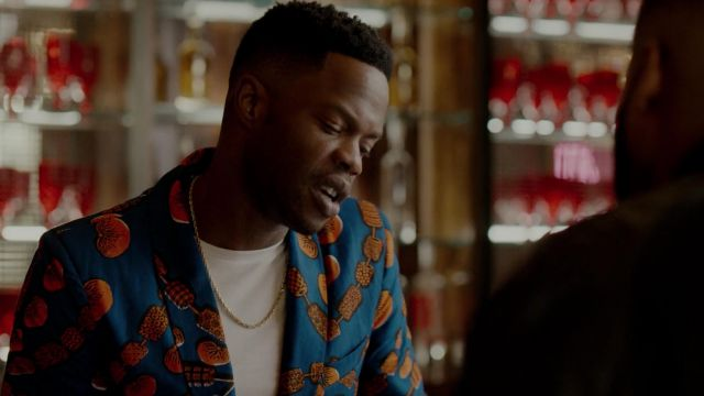 Blue blazer printed Ohema Ohene outfit worn by Jeff Colby (Sam Adegoke) seen in Dynasty Season 2 Episode 5 - TV Show Outfits and Products