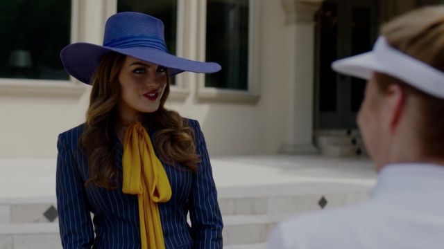 Blue blazer striped Versace outfit worn by Fallon Carrington (Elizabeth Gillies) seen in Dynasty Season 2 Episode 3 - TV Show Outfits and Products