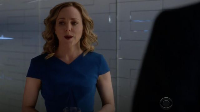 Blue dress figure-hugging Roland Mouret outfit worn by Marissa Morgan (Geneva Carr) seen in Bull Season 2E17