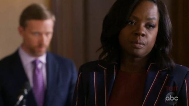 Blue jacket striped Annalise Keating (Viola Davis) seen in How to get with Murder (Season 5 Episode 5) - TV Show Outfits and Products