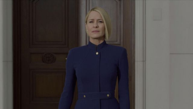 Blue jacket tailoring outfit worn by Claire Underwood (Robin Wright) seen in House of Cards Season 6 Episode 1 - TV Show Outfits and Products