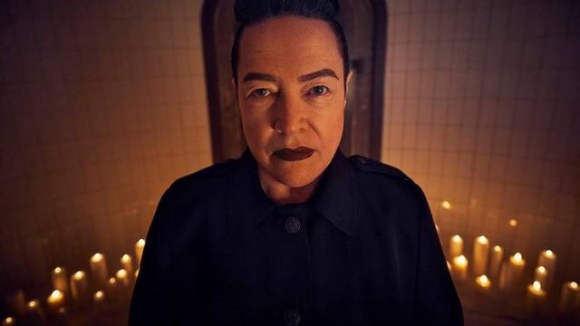 Blue mantle of Ms. Miriam Mead (Kathy Bates) seen in American Horror Story Revelation (Season 8) - TV Show Outfits and Products
