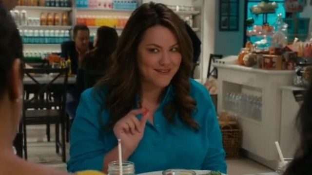 Blue shirt Chico's scope by Katie Otto (Katy Mixon) seen in American Housewife Season 3 Episode 5 - TV Show Outfits and Products