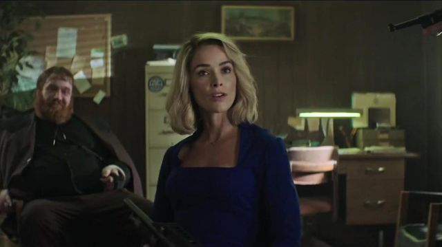 Blue square neck work dress outfit worn by Doris Dearie (Abigail Spencer) in Reprisal (S01) - TV Show Outfits and Products