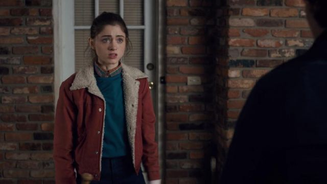 Blue sweater Nancy Wheeler (Natalia Dyer) seen in Stranger Things Season 1 Episode 5 - TV Show Outfits and Products