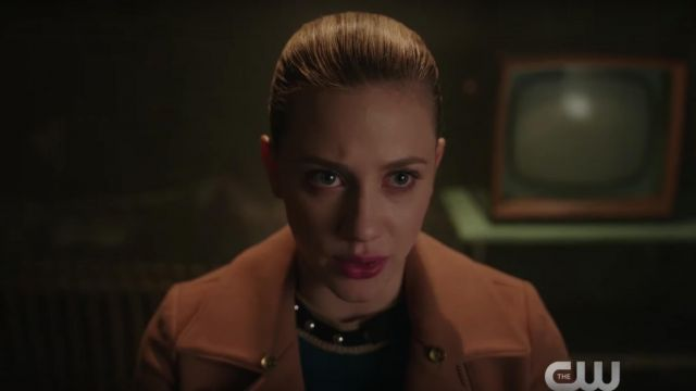 Blue sweater Red Valentino Betty Cooper (Lili Reinhart) seen in Riverdale Season 2E22 - TV Show Outfits and Products