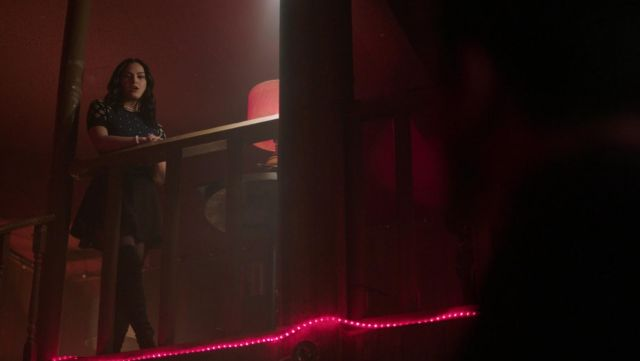 Blue sweater and black printed Red Valentino Veronica Lodge (Camila Mendes) seen in Riverdale Season 2E22 - TV Show Outfits and Products