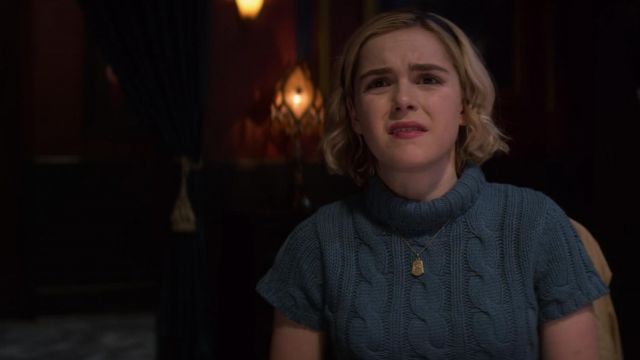 Blue sweater short sleeves and turtleneck of Sabrina Spellman (Kiernan Shipka) seen in The New Adventures of Sabrina Season 1 Episode 6