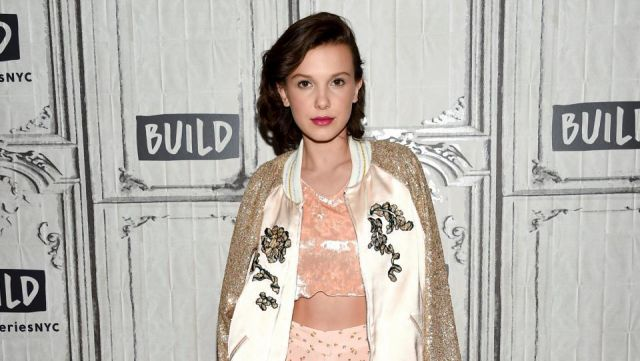 Fashion Trends 2021: Bomber Rodarte embroidered rose of Millie Bobby Brown in BUILD Series in NYC