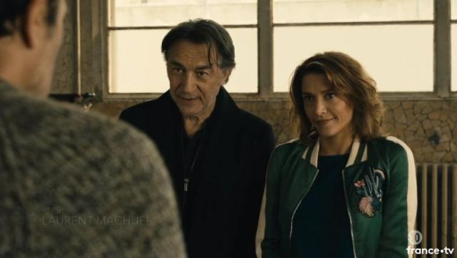 Fashion Trends 2021: Bomber jacket bomber green embroidered Gabrielle Stahl (Emma de Caunes) seen in Lanester the 09/03/2018