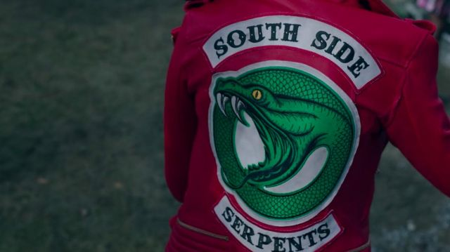 Bomber jacket faux leather red of Cheryl Blossom (Madelaine Petsch) seen in Riverdale Season 2E22 - TV Show Outfits and Products